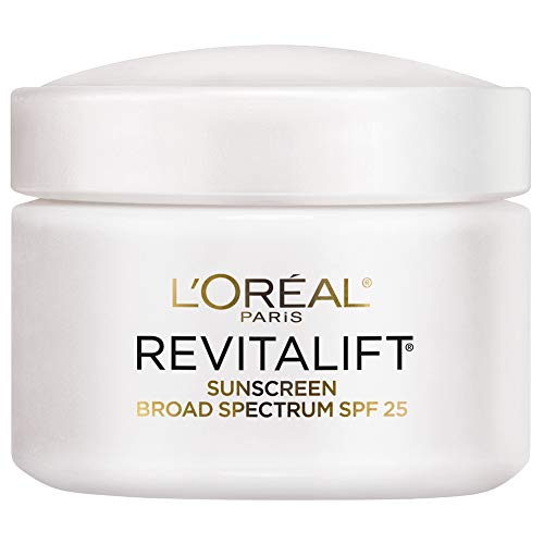 - Face Moisturizer with SPF 25 by L'Oréal Paris Skin Care, Revitalift Anti-Aging Day Cream with SPF 25 Sunscreen and Pro-Retinol, Paraben Free, Suitable for Sensitive Skin, 2.55 oz