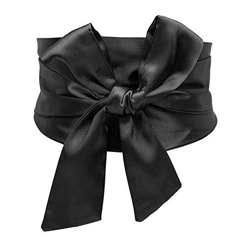 (Idopy Women's Bow Tie Knot Wide Band Cinch Corset Waist Belt Cinch Black)