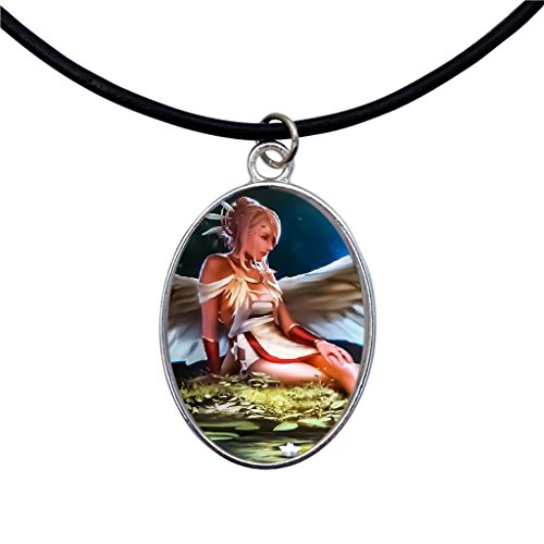 (DragonWeave Nature Angel Silver Oval Cameo Pendant on Black Leather Cord Necklace)