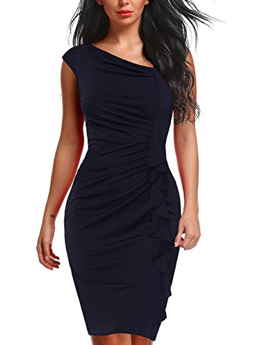 (Berydress Women's Retro 1950s Ruffles Slim Bodycon Knee-Length Navy Sheath Pencil Dress with Sleeves (XL, 6073-navy))