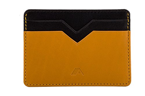 Jet Holder SLIM Leather Mustard Card Slim A Cardholder Yellow 'Yaiba' Black A1waAS