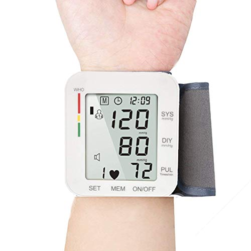 Digital Wrist Blood Pressure Monitor Cuff Electric BP Check Machine Portable Clinical Automatic with Case LCD Display Heart Beat Monitoring for Home Use (White)