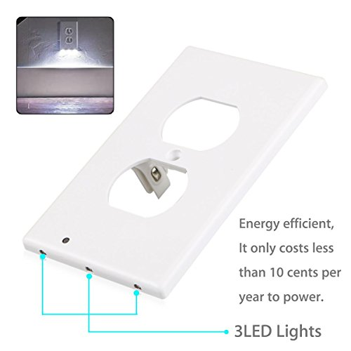 Outlet Wall Plate with LED Night Lights by Marquee Innovations | 4 Pack | No Wires or Battery Needed – Fast Install | Duplex, White by Marquee Innovations (Image #6)