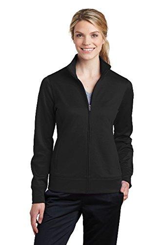 Sport-Tek Women's Sport-Wick Fleece Full-Zip Jacket LST241 Black Small