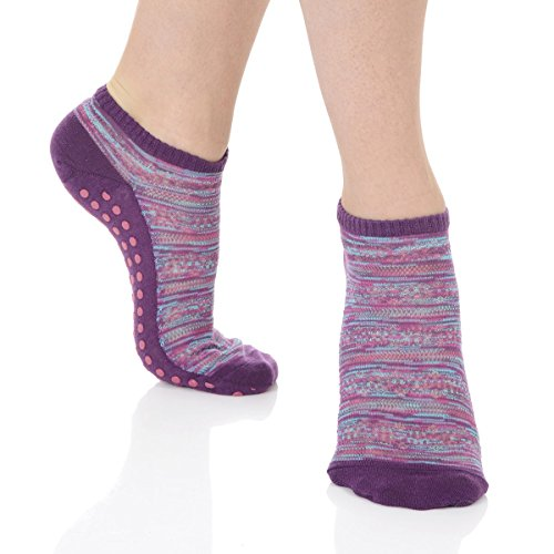 Great Soles Crochet Non Skid Sticky Grip Socks for Yoga, Pilates, Barre (Purple Multi)