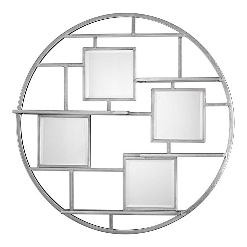 Uttermost 04089 Zaria - 40.38'' Mirrored Round Wall Shelf, Bright Silver Leaf Finish with Beveled Glass by Uttermost
