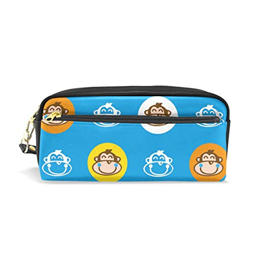 (Blue Colorful Monkey Leather Student Pencil Case Pen Cosmetic Bag for Girls Makeup Pouch )