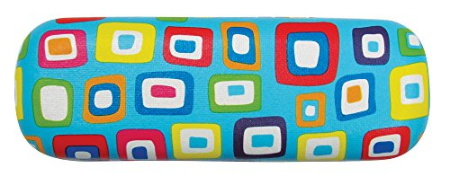 Glasses Case For Kids, Girls, Boys, Small Hard Shell Eyeglass Case, Colorful Squares, Blue