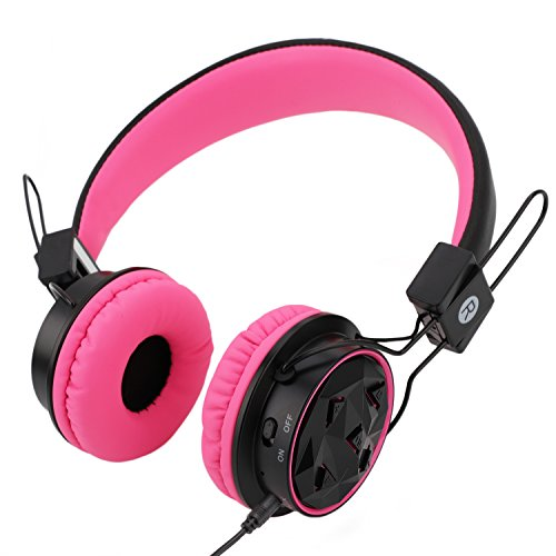 Kids Wireless Headphones Bluetooth Toddlers Headphones with Stereo Sound,3.5mm Jack Wired Cord, Aux in,SD Card Slot,Long Lasting Playing Time (Rose pink/Black)-Handal