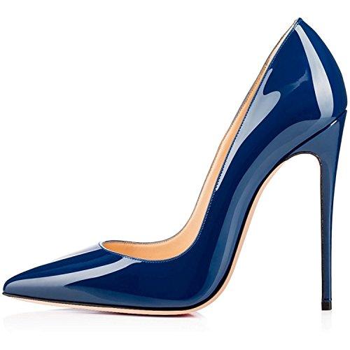 Tacco Scarpe Alto Spillo Chiusa Soireelady Punta Donna Donna Tacco col Scarpe Blue a wqERdS