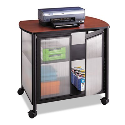 Impromptu Deluxe Machine Stand w/Doors, 34-3/4 x 25-1/2 x 30-3/4, Black/Cherry, Sold as 1 Each by Safco
