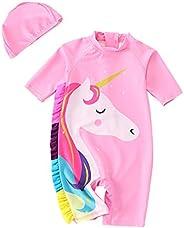 Girls One-Piece Swimwear Toddle Swimsuit UV Protection Kids Bathing Suits Unicorn Rash Guard Swimwear with Swi