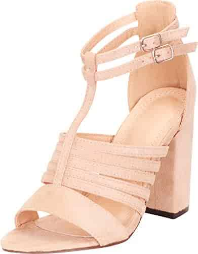 b51edd85c8 Cambridge Select Women's Open Toe T-Strap Cutout Caged Chunky Block Heel  Sandal