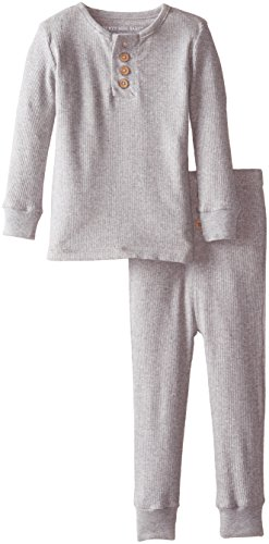 Burt's Bees Baby Unisex Organic 2-Piece Henley Pajama Set, Heather Grey, 18 Months - Kid 2 Piece Pjs