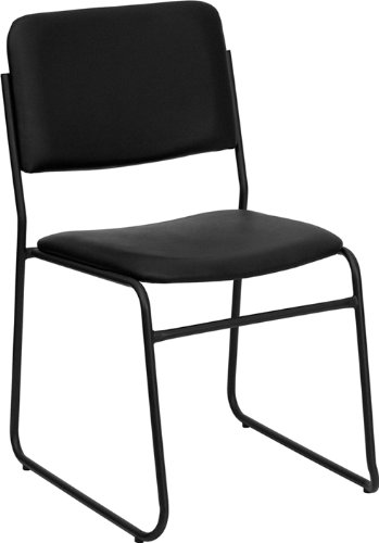 Flash Furniture HERCULES Series 1000 lb. Capacity High Density Black Vinyl Stacking Chair with Sled - Office Chairs Furniture Stacking