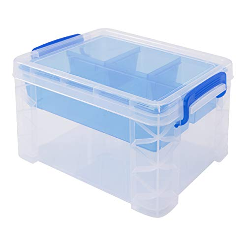 Plastic Stacker - Super Stacker Divided Storage Box with Removable Tray, 10 x 7.5 x 6.5 Inches (37375)