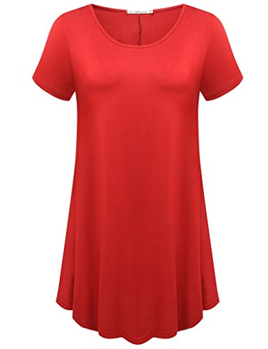 JollieLovin Women's Short Sleeve Loose Fit Flare Hem T Shirt Tunic Top (Red, S) ()