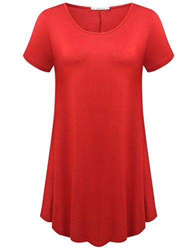 JollieLovin Women's Short Sleeve Loose Fit Flare Hem T Shirt Tunic Top (Red, M)