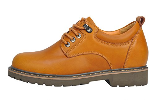 Serene Mens Cashion Round Toe Lace-up Leather Ankle Boots Oxfords Outdoor Shoes (8 B(M)US, golden)