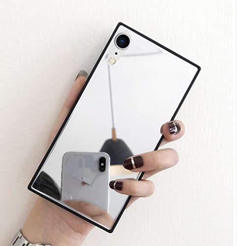 Mirror Hard Case - iPhone XR Mirror Case,Luoming Luxury Square Glass Glossy Mirror Shockproof Smooth Hard Case for iPhone XR 6.1inch