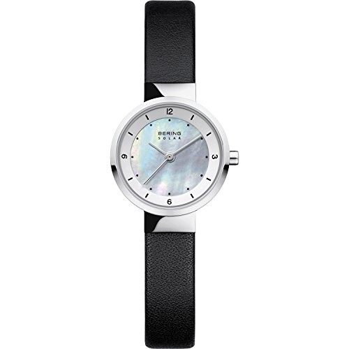 Time 14424-402 BERING Women Solar Collection Watch with Leather Strap and scratch resistent sapphire crystal. Designed in Denmark