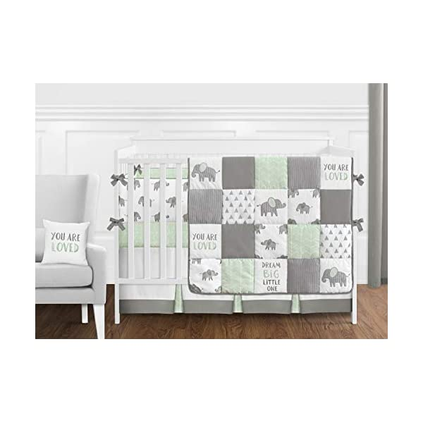 Sweet Jojo Designs Grey and White Accent Floor Rug or Bath Mat for Mint Watercolor Elephant Safari Collection