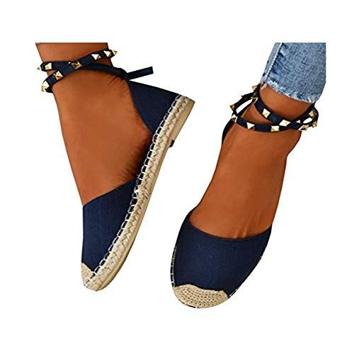 Womens's Rivets Beaded Fashion Handmade Cotton Fabric Espadrilles Slip on Casual Canvas Loafers Flat Shoes Blue