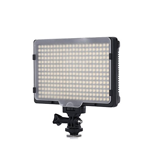 Tolifo PT-308S 308 Ultra Bright LEDs Video Light Panel Mini Size With LED Display Screen and Handle 3200/5600K Color Temperature For Canon Nikon Camera and DSLR or Camcorder PT-308S by Tolifo