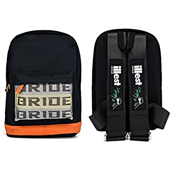 ac244b1597a JDM Bride Racing Backpack with ILLEST Racing Harness Shoulder Straps Seat  Belt BLACK