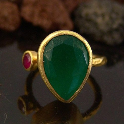 (925k Silver Handmade Designer Green Jade W/Ruby Ring 24k Gold Vermeil Handcrafted Women Statement Ring Turkish Designer Fine Jewlery)