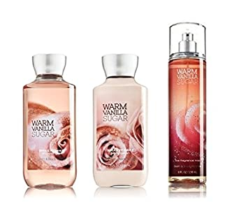 Bath Body Works Signature Collection WARM VANILLA SUGAR Gift Set Shea Enriched Shower Gel Body Lotion Fine Fragrance Mist