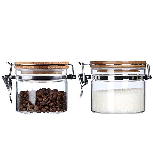 anisters Set with Airtight Lids Dry Food Storage Jars with Airtight Locking Clamp Bamboo Lids Airtight Food Storage Containers Sugar Salt Pepper Tea Weed Jars 16 Floz 2-Piece Set ()
