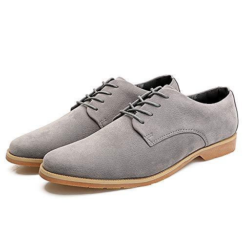 Gris Jusheng de Cuero sólido de 44 EU Color talón Genuino Oxfords Ocio tamaño Plano Caqui con Zapatos los de Color Cordones Hombres C1wCrz