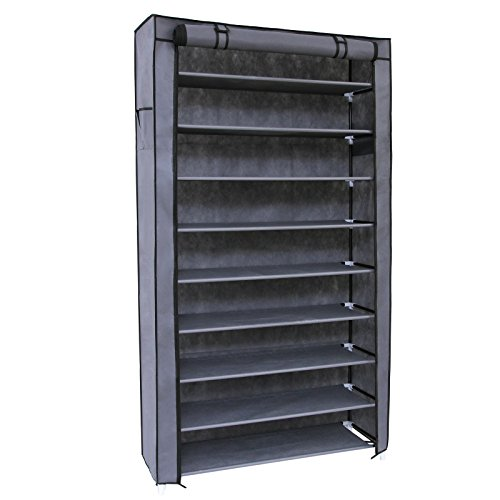 SONGMICS 10 Tiers Shoe Rack with Dustproof Cover Closet Shoe Storage Cabinet Organizer Grey URXJ36G (Shoe Rack Cubby)