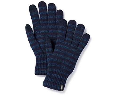 Gloves Striped Nylon (Smartwool Striped Liner Glove (Deep Navy Heather-Bright Cobalt Heather) M)