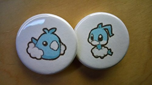 5x Pokemon Collectible 1'' inch Buttons - Swablu Altaria Evolution Set - Custom Made - Pin Back - Gift Party Favor by Legacy Pin Collection