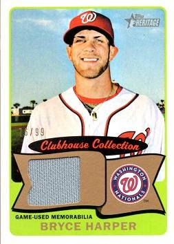 2014 Topps Heritage Clubhouse Collection Gold Relics #CCR-BH Bryce Harper Game Worn Jersey Baseball Card - Only 99 made!
