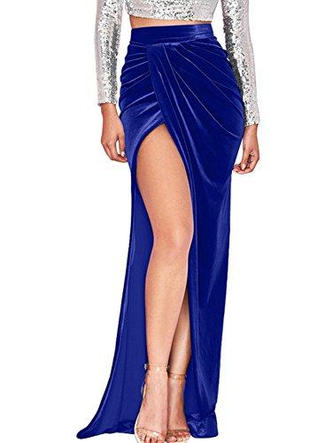 GOBLES Womens Velvet High Waist Sexy Side Slit Party Floor Length Maxi Skirt Royal Blue (Floor Sexy)