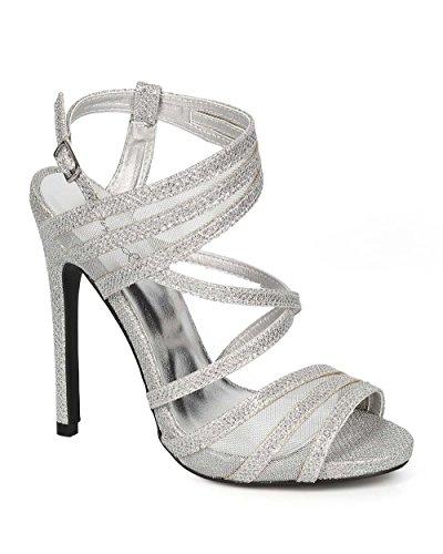 Qupid CG23 Women Glitter Mesh Peep Toe Criss Cross Stiletto Heel Sandal - Silver (Size: 6.5)