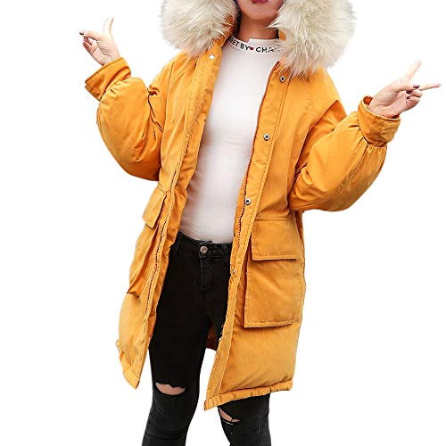 s Hooded Coat with Faux Fur Collar Warm Thick Outwear Parka Jacket ()