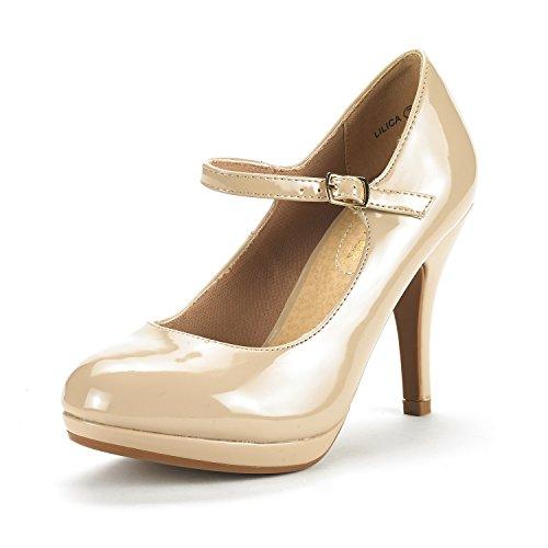 DREAM PAIRS Damen LILICA Mary-Jane Close Toe Stilleto Platform Pumps Schuhe Nackter Pat