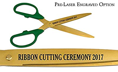 "Pre-Laser Engraved ""RIBBON CUTTING CEREMONY 2015"" 36"" Gold Ceremonial Ribbon Cutting Scissors"