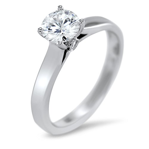Art of Fine 14K White Gold 0.75cttw Round Brilliant Cut Forever One Moissanite Solitaire with Bezel Set Accent Gallery