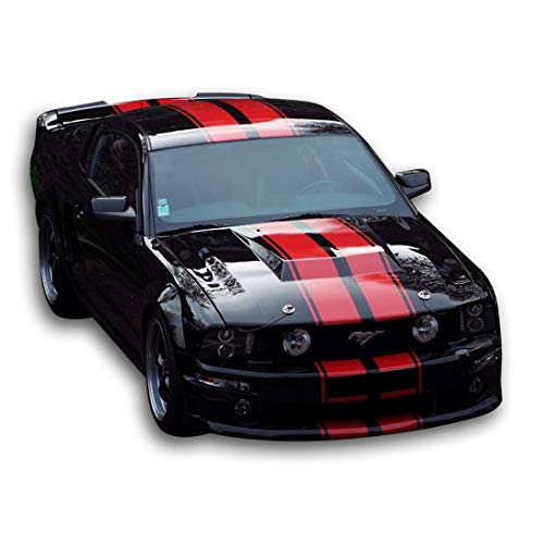 Bubbles Designs Decal Sticker Graphic Front to Back Stripe Kit Compatible with Ford Mustang GT 2005 2010 2011 2012 ()
