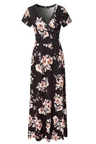 Zattcas-Womens-V-Neck-Floral-Maxi-Dress-Summer-Casual-Pocket-Maxi-Long-Dress-X-Large-Black-Orange