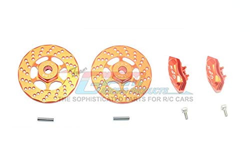 Traxxas Ford GT 4-Tec 2.0 (83056-4) Upgrade Parts Aluminum Front Or Rear Brake Disk + Brake Caliper - 4Pc Set Orange