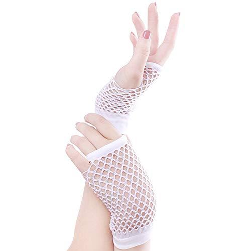 BAOBAO Women 70s 80s Neon Dance Party Club Short Fingerless Fishnet Mesh Gloves, White, One Size