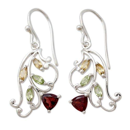 NOVICA Multi-Gem Garnet .925 Sterling Silver Dangle Earrings 'Rosebud Glory'