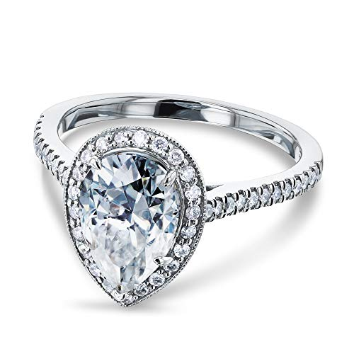 (Pear Shape Moissanite Halo Engagement Ring 2 1/2 CTW 14k White Gold, Size 5)