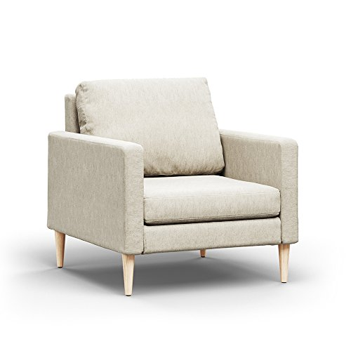 Campaign Steel Frame Brushed Weave Accent Chair, 33 Inches, Almond White with Solid Maple Legs Review